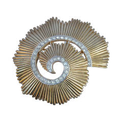 "Trifari ""Swirl"" Gold-Tone with Rhinestone Brooch"