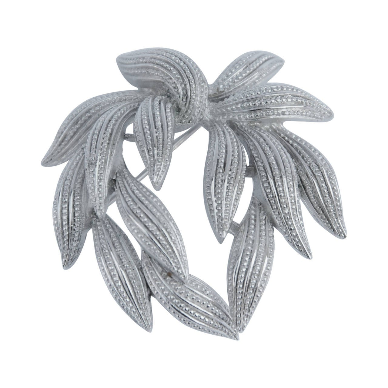 "Trifari Polished Silver-Tone ""Wreath"" Brooch For Sale"