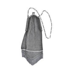 Victorian Sterling Silver Mesh Evening Handbag with Fringe