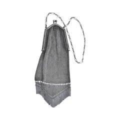 Victorian Sterling Silver Mesh Evening Handbag with Fringe