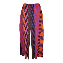 Issey Miyake Signature Pleated Bold Multi-Color Abstract Trousers