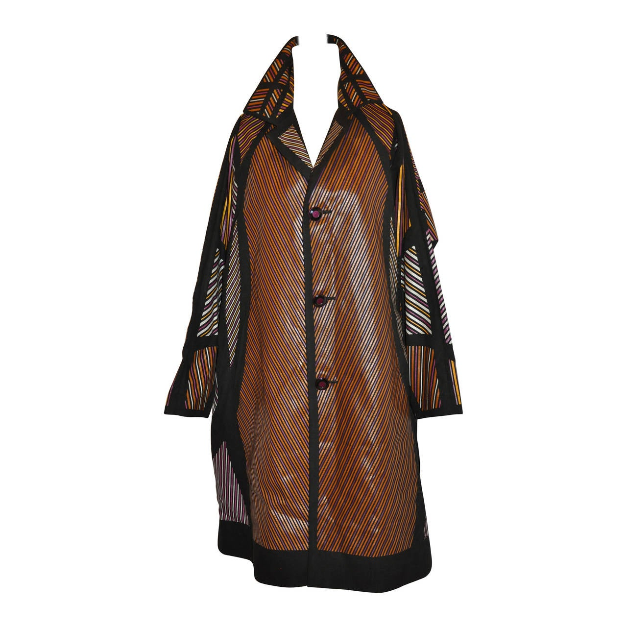 Issey Miyake Multi-Color Multi-Stripe Bold Abstract Flared Car Coat