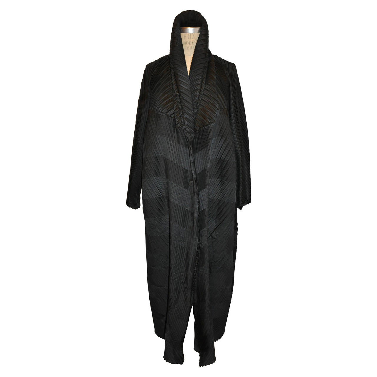 Issey Miyake Signature Pleated Medium-Weight Black Multi-directional Coat For Sale