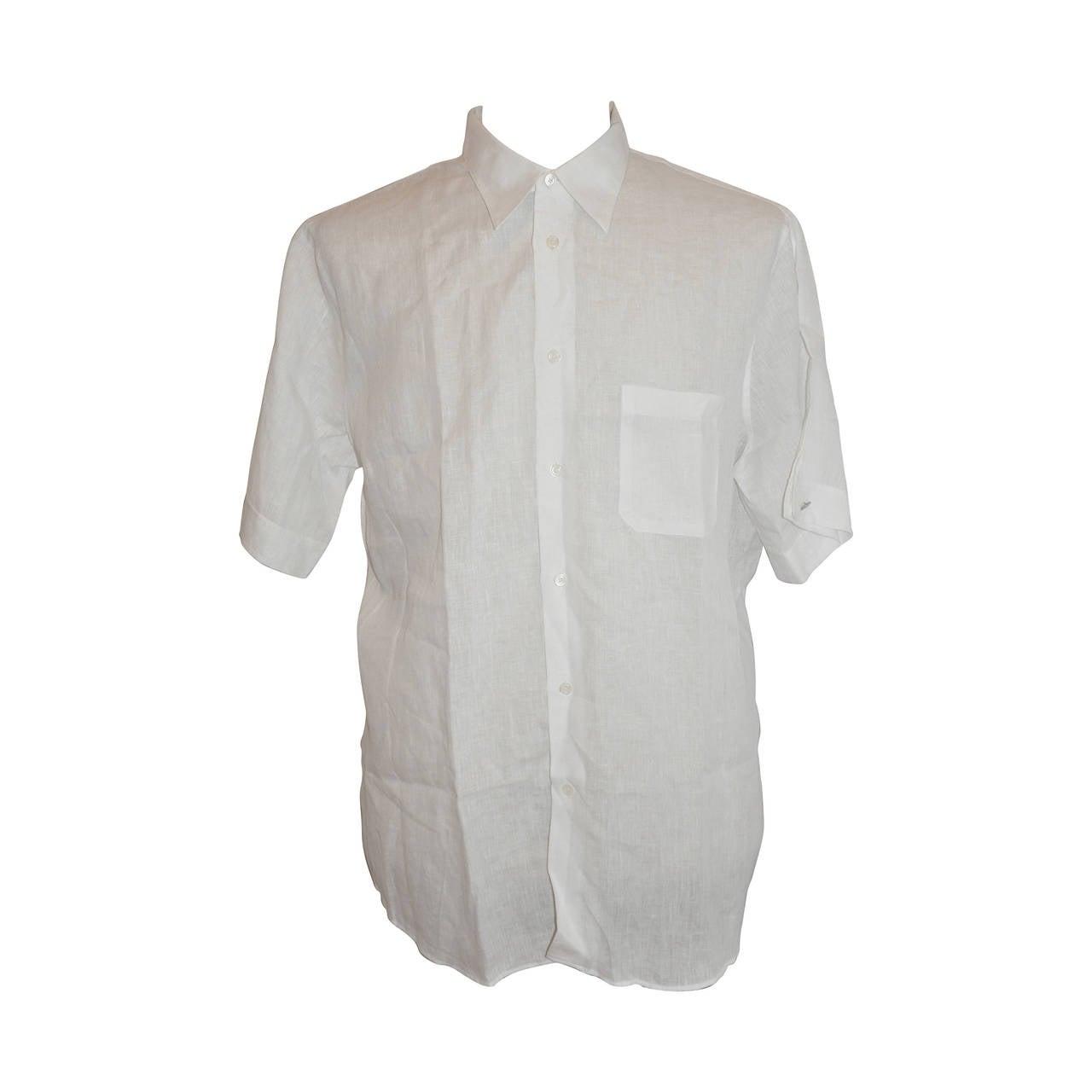 Hermes Men's White Linen Button Shirt with Detailed Cuffs