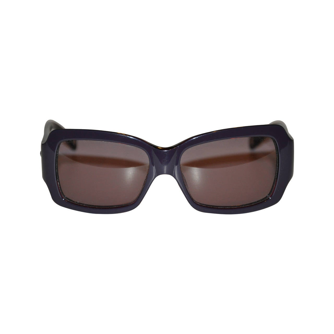 Moschino Thick Black Lucite with Heart Crystal Accent Sunglasses