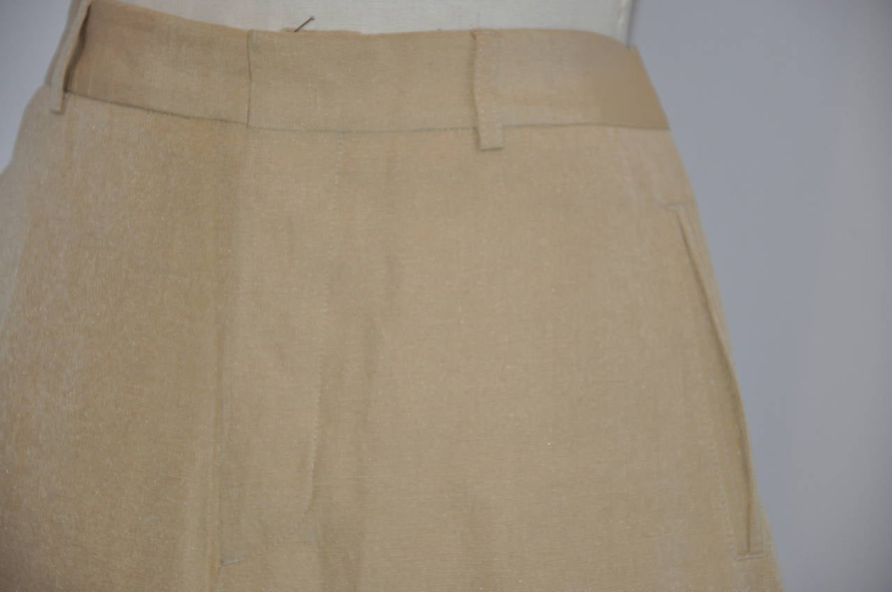 Jean Paul Gaultier Beige Silk & Linen Wide-Leg Trousers 3