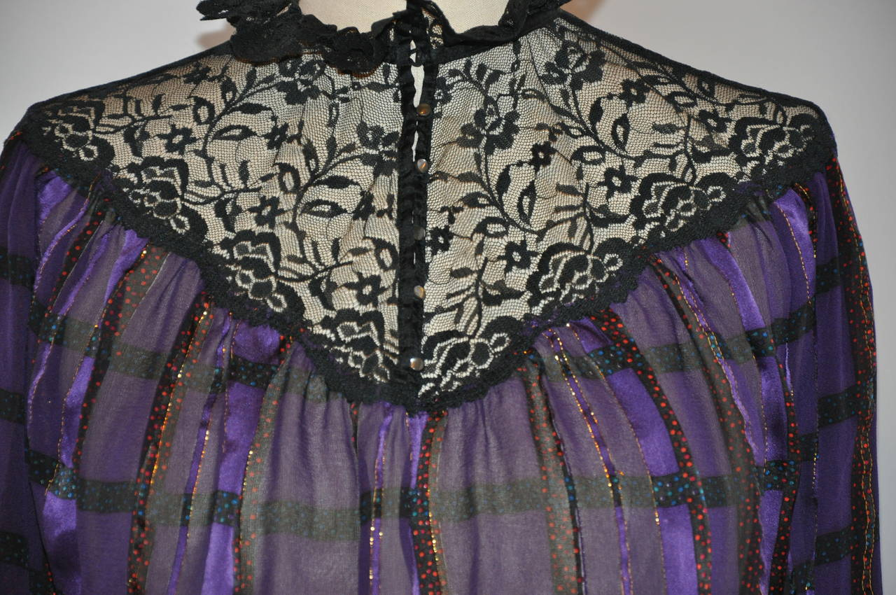 Multi Violet with Metallic Silk & Chiffon with Lace & Ruffle Top 2