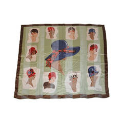 "Lanvin Silk & Silk Chiffon ""Ladies with Hats"" scarf"