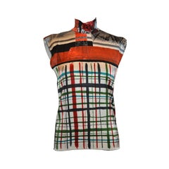 Jean Paul Gaultier Bold Multi-Color High-Neck Abstract Stretch Top