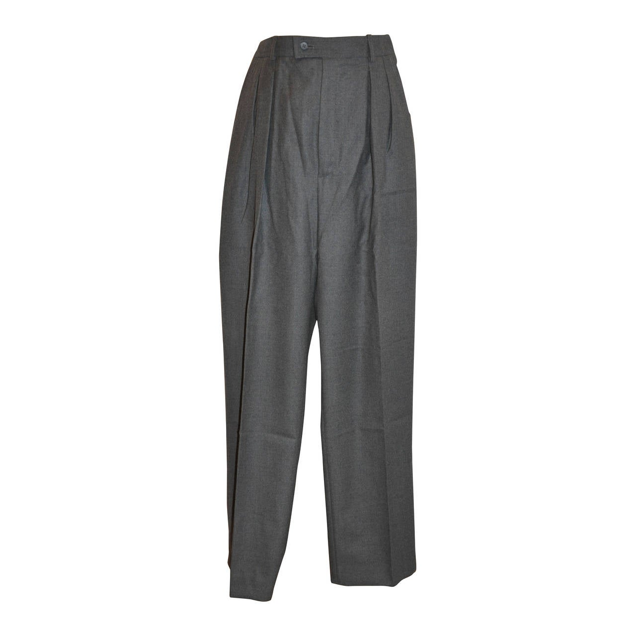 Yves Saint Laurent Pleated Charcoal Gray Wool Trousers