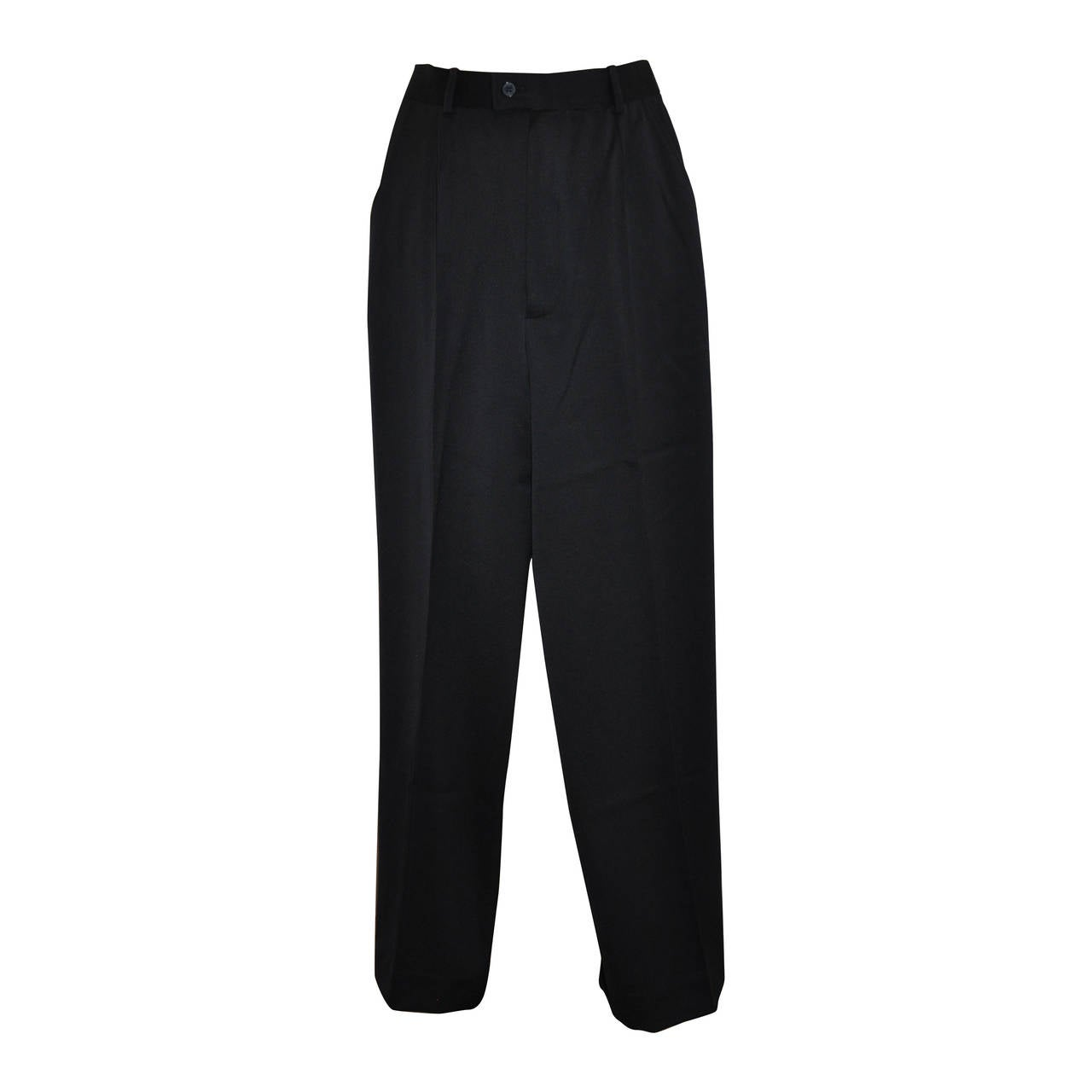 Yves Saint Laurent Signature Navy Wool Gabardine Trouser For Sale