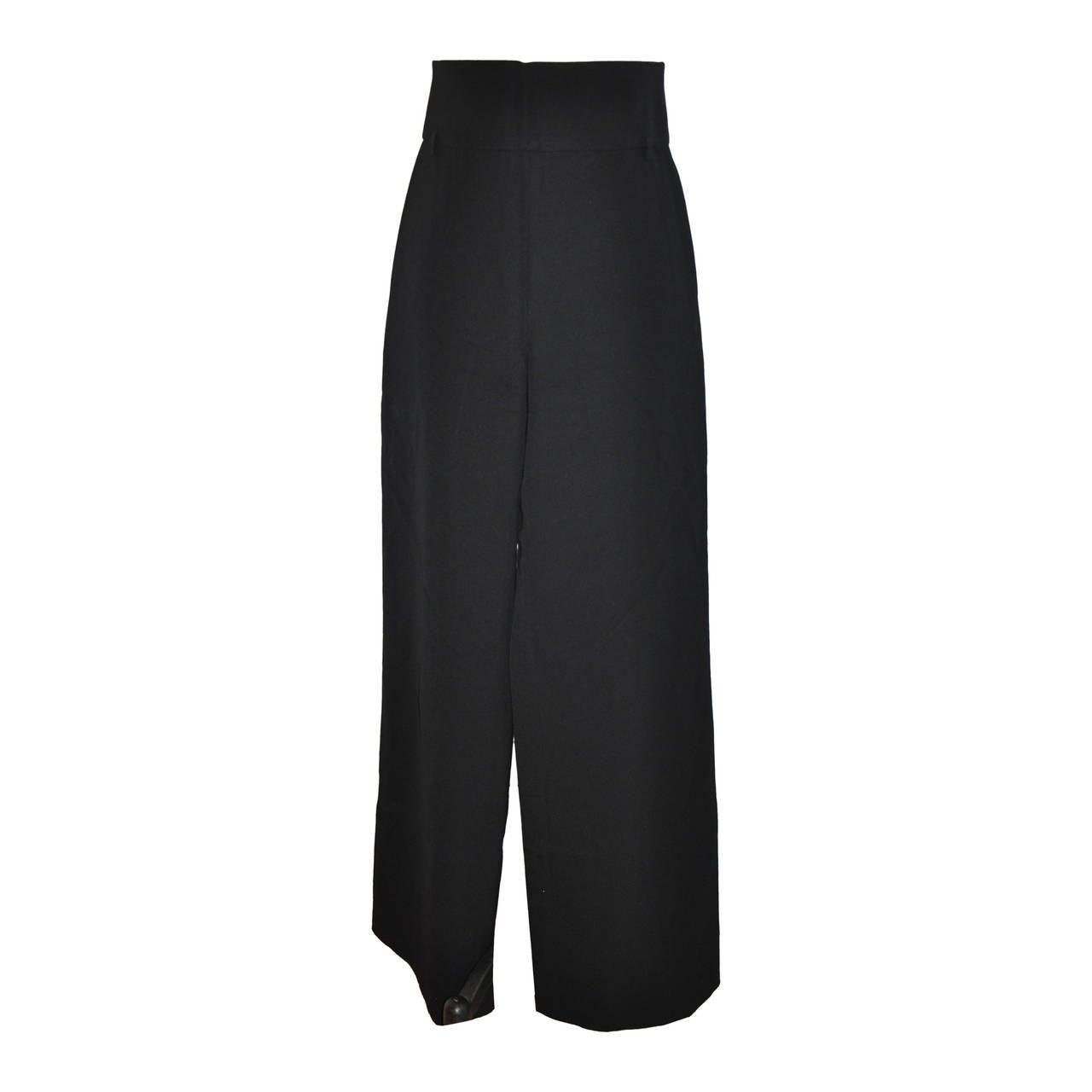 Yves Saint Laurent Signature Black High-Waisted Gabardine Trousers 1