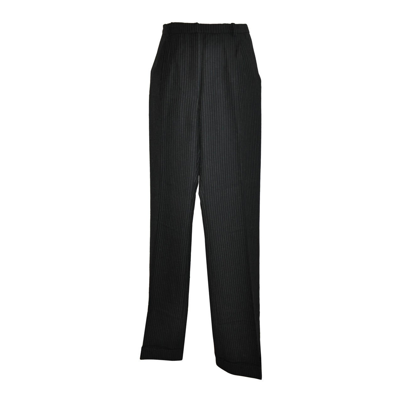 Balenciaga Black Wool Pinstripe Trousers