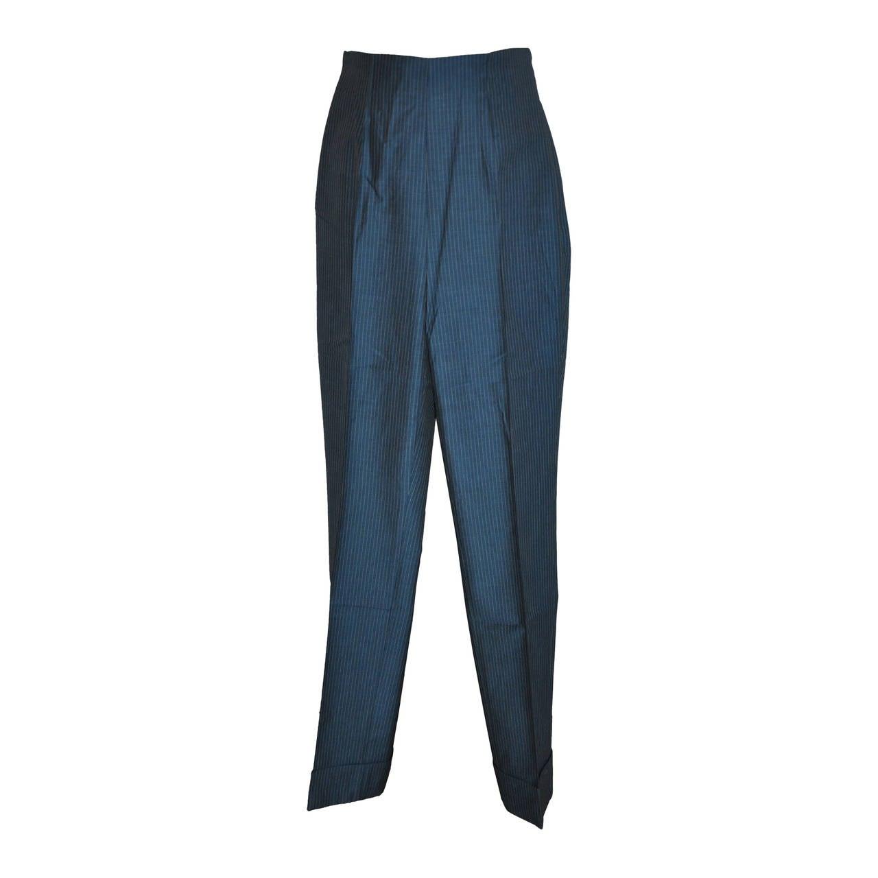 Romeo Gigli Blue Pinstripe Silk Trousers