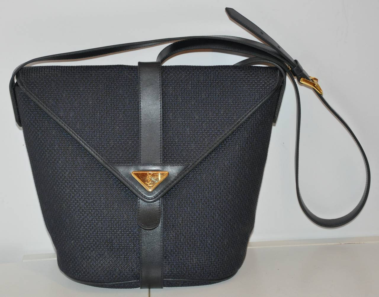 Yves Saint Laurent Woven Weave Navy Flap Over Shoulder Bag