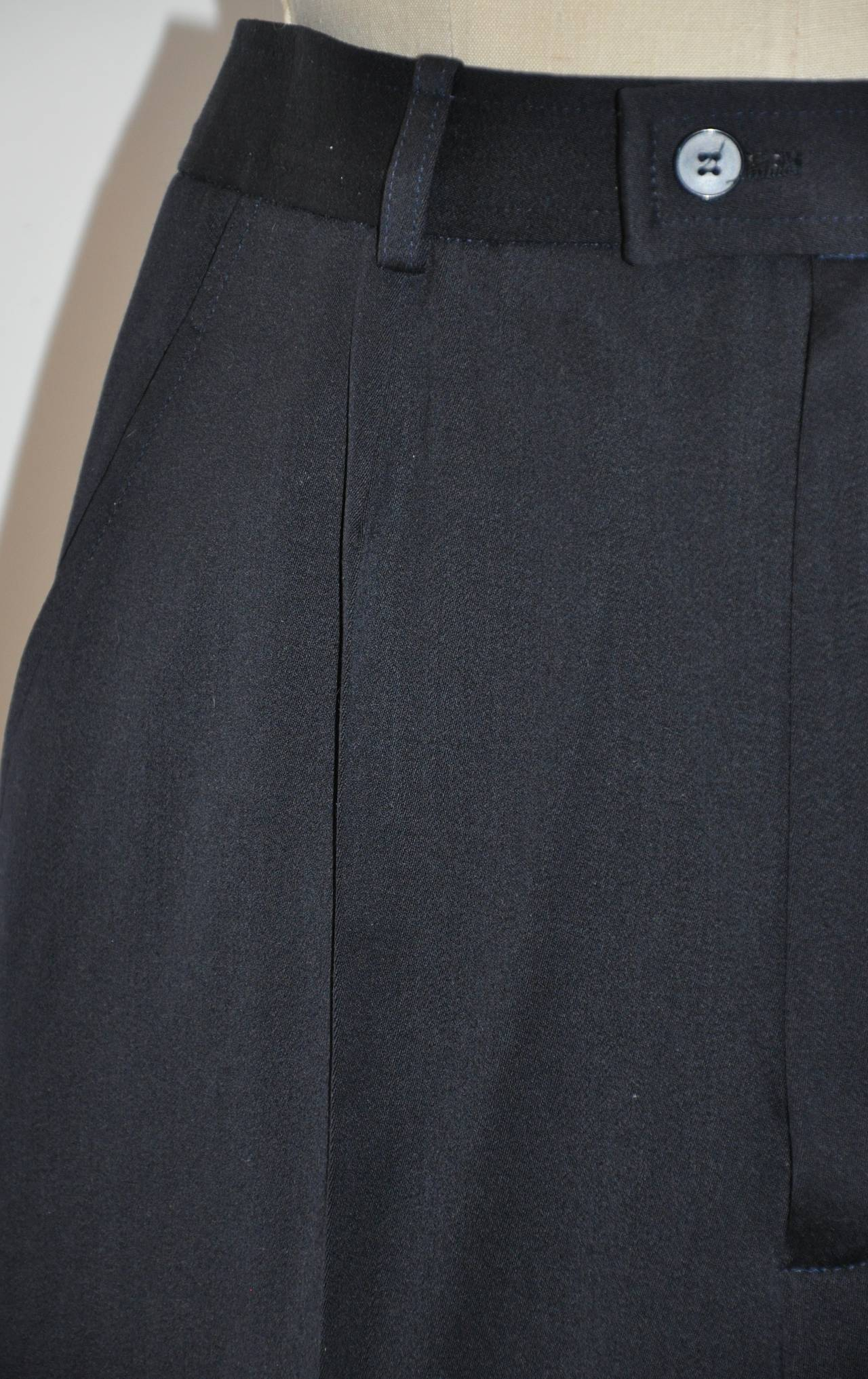 Black Yves Saint Laurent Signature Navy Wool Gabardine Trouser For Sale