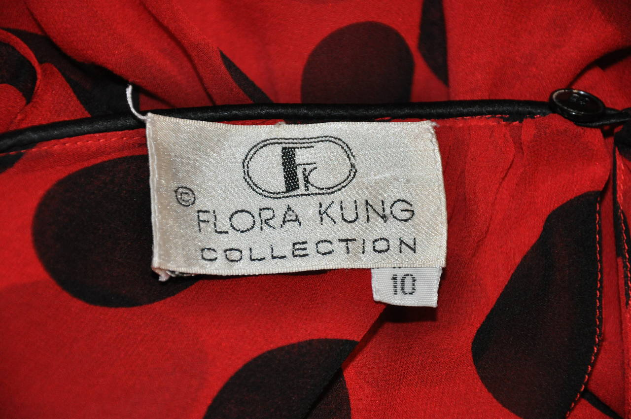 Flora Kung Double Layer Red & Black Silk Chiffon and Crepe de Chine Blouse 4