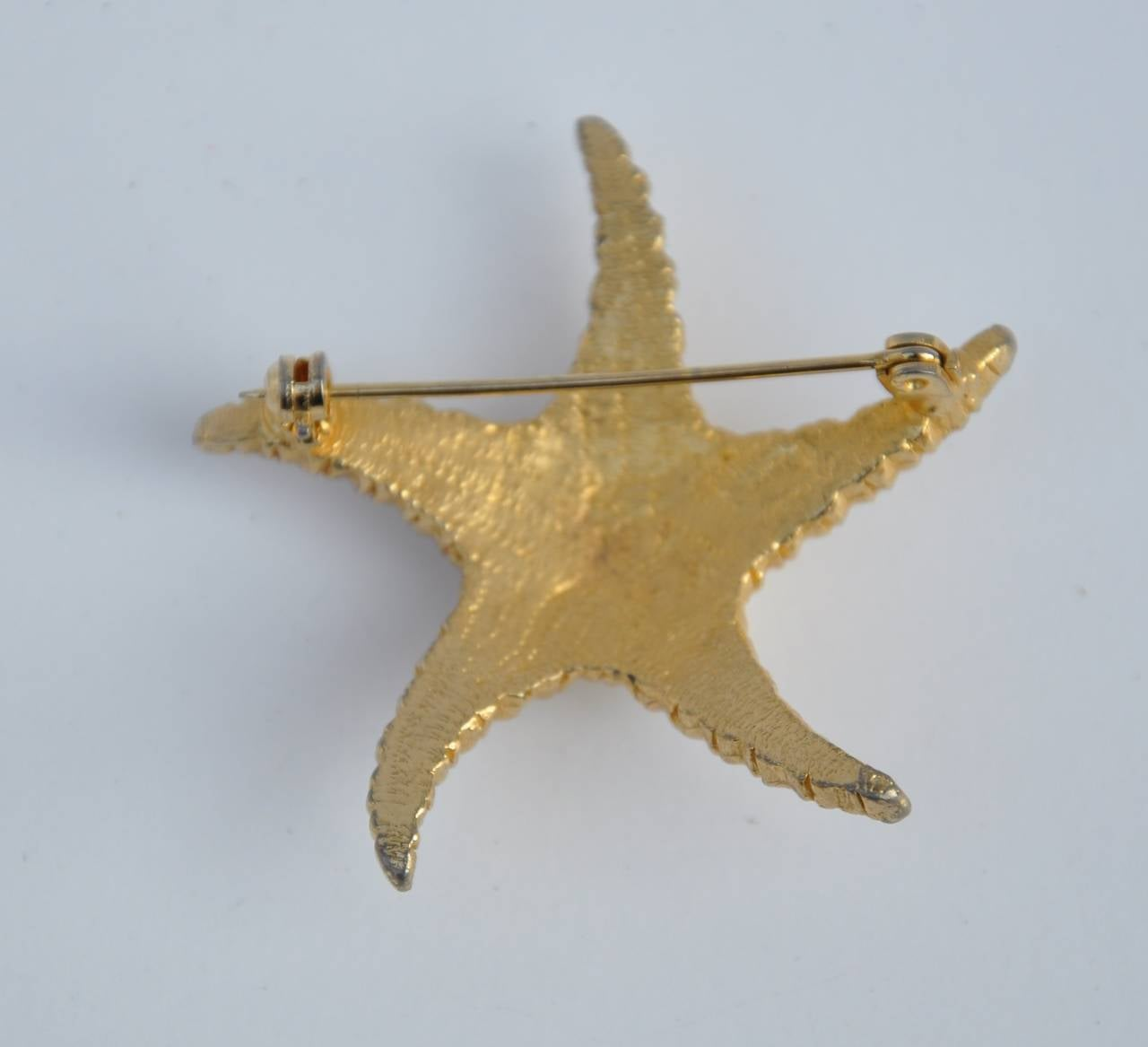 "Large Gilded Gold Vermeil ""Starfish"" with Micro Seed Pearls Brooch 2"