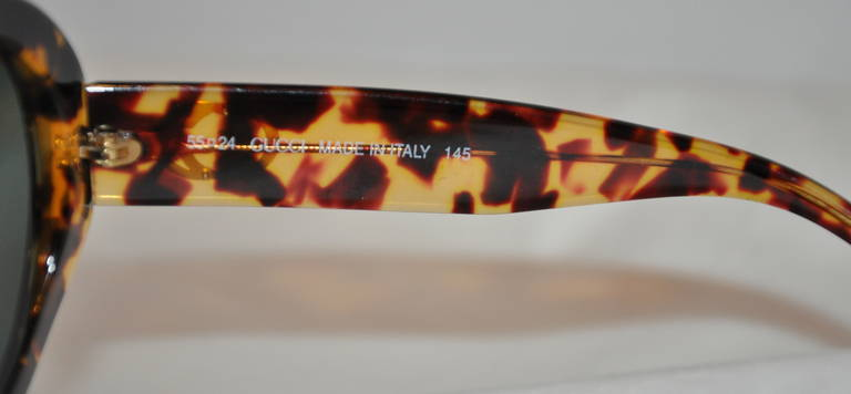 Black Gucci Large Round Tortoise Shell Sunglasses For Sale