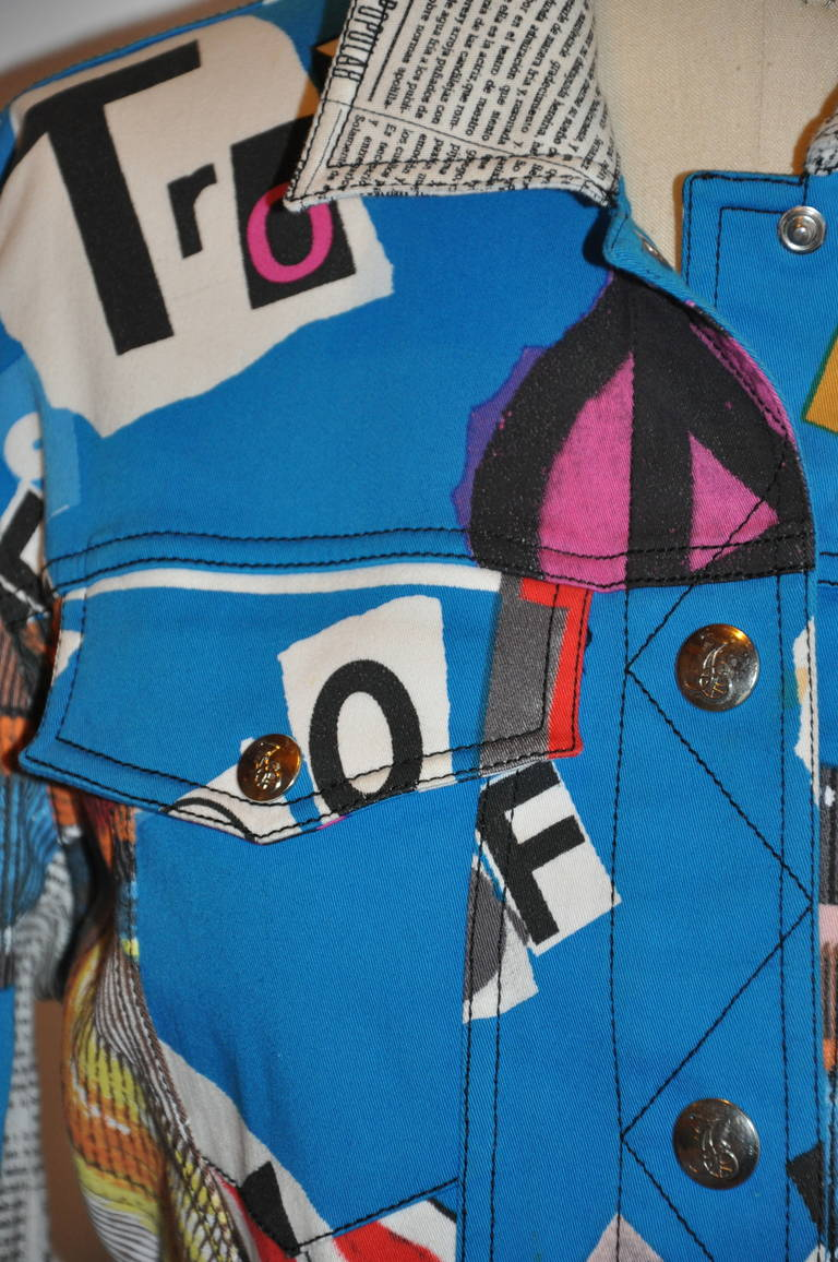 "John Galliano ""Newspaper & Graffitti"" Cropped Jacket In Excellent Condition For Sale In New York, NY"
