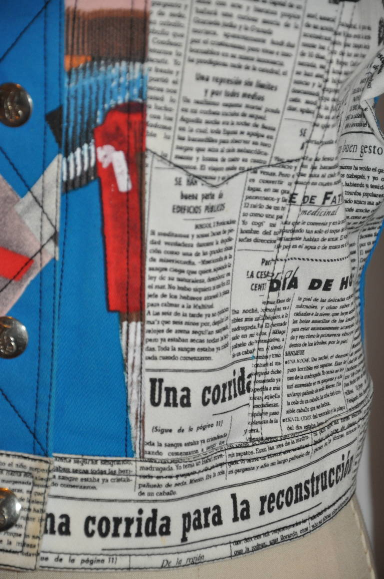 "John Galliano ""Newspaper & Graffitti"" Cropped Jacket For Sale 2"