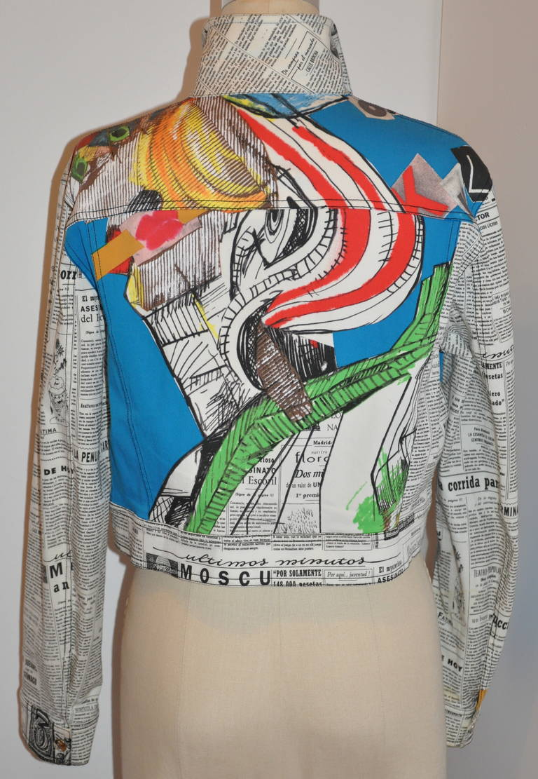 "John Galliano's ""Newspaper & Graffitti"" cropped jacket has two front patch pockets. 98% cotton with 2% lycra.