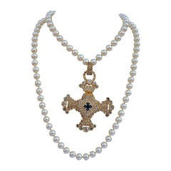Magnificent Double-Strand Pearl Necklace with Huge Rhinestone Cross