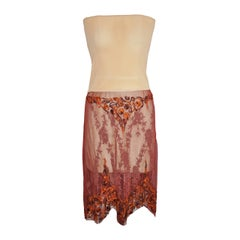 Jean Paul Gaultier Strapless Netted with Hand-Embroidered Accent
