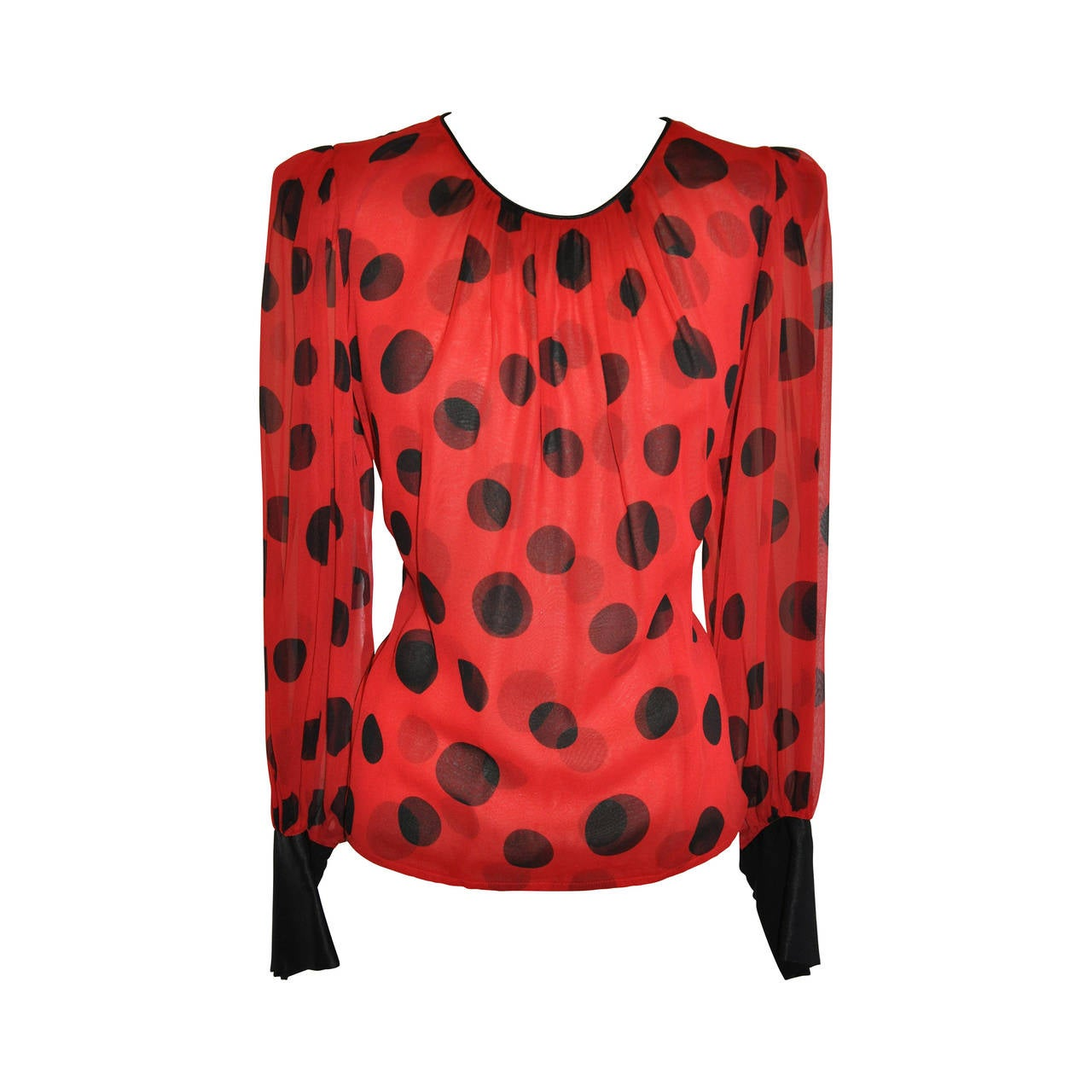 Flora Kung Double Layer Red & Black Silk Chiffon and Crepe de Chine Blouse 1