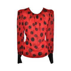 Flora Kung Double Layer Red & Black Silk Chiffon and Crepe de Chine Blouse