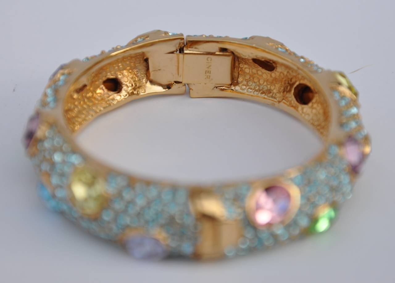 Ciner Multi-Color Rhinestone Encrusted Gold Bracelet 3
