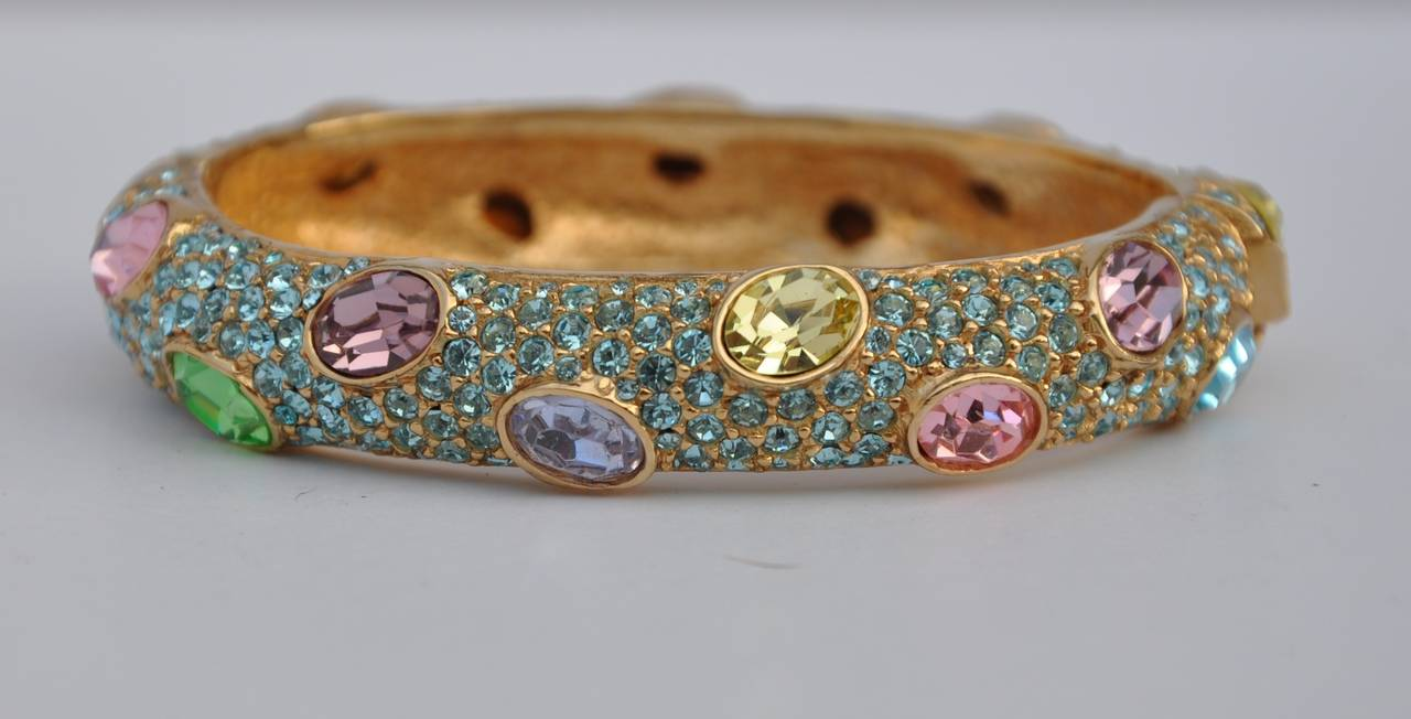 Ciner Multi-Color Rhinestone Encrusted Gold Bracelet 4