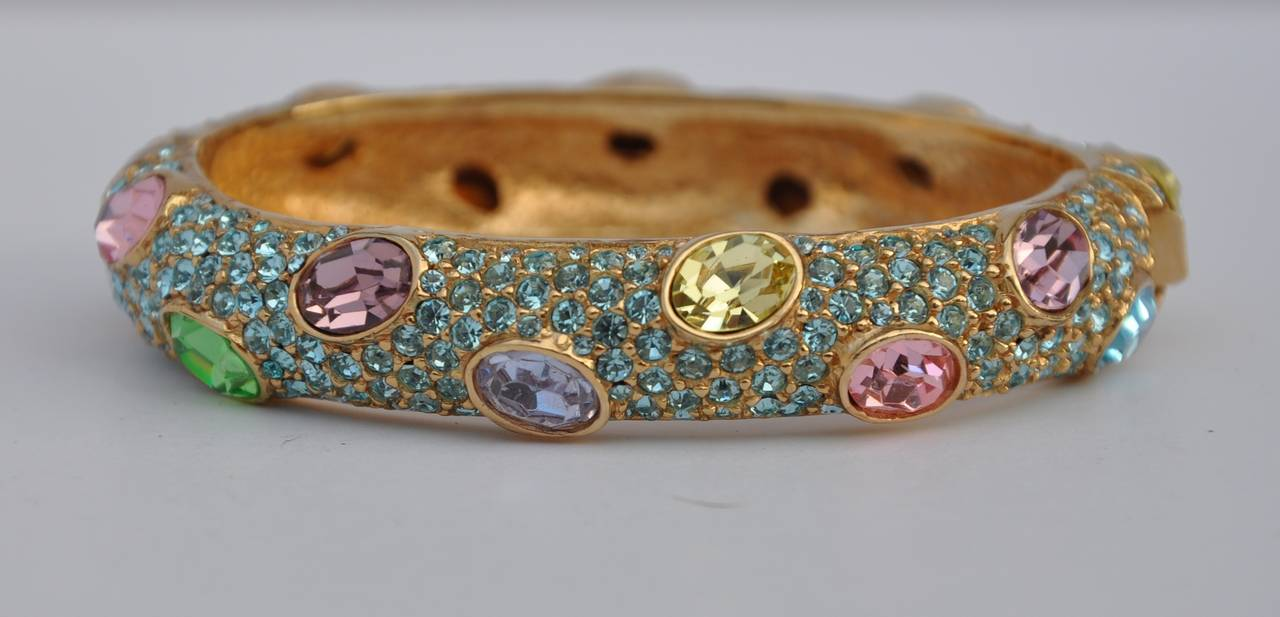 Ciner Multi-Color Rhinestone Encrusted Gold Bracelet 5