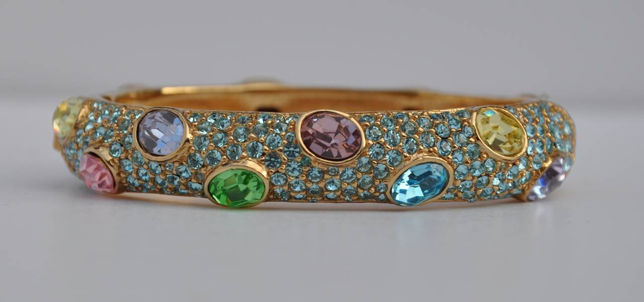 Ciner Multi-Color Rhinestone Encrusted Gold Bracelet 2
