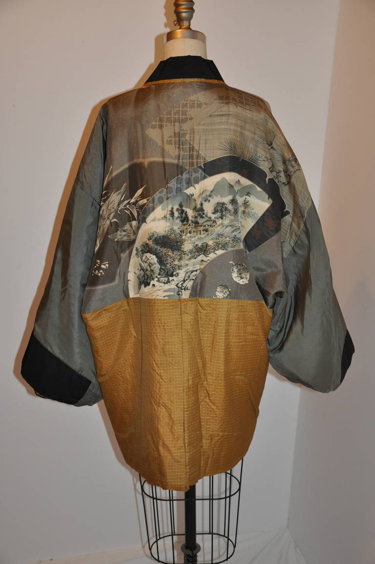 Rare Quilted Silk Japanese Kimono Jacket With Japanese