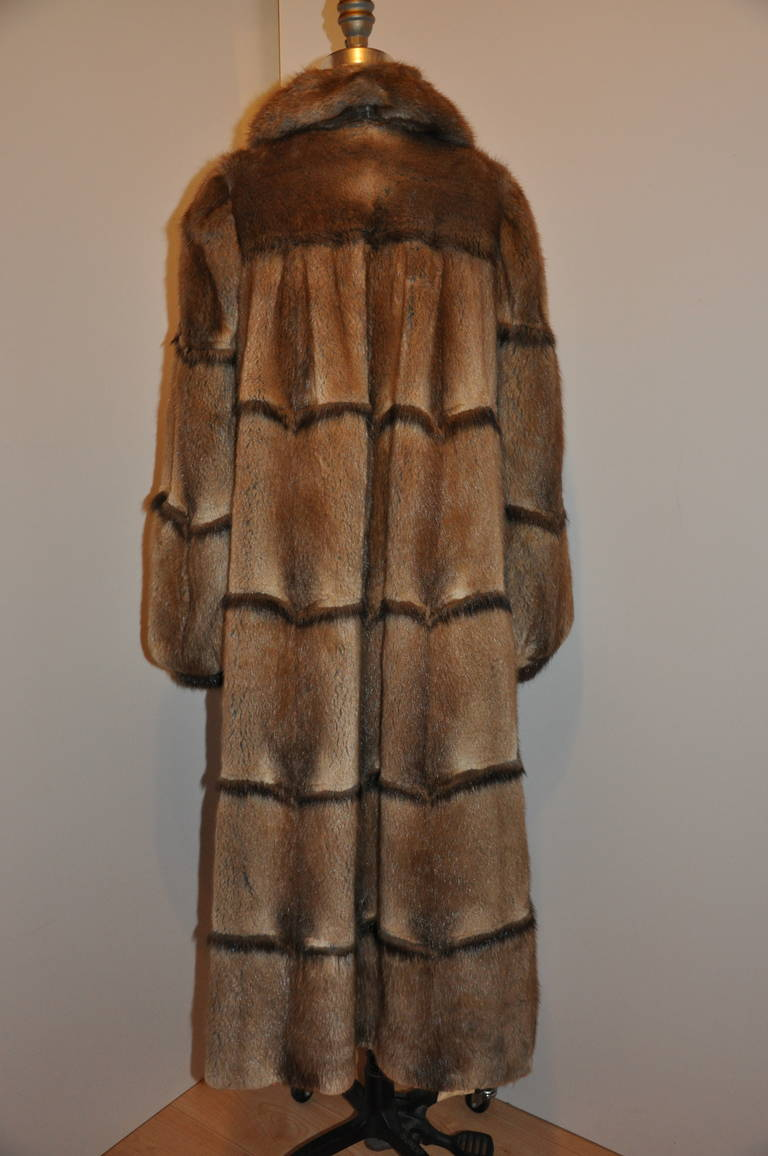 Full-Length Vintage Mink Coat with Ruffle Collar 2