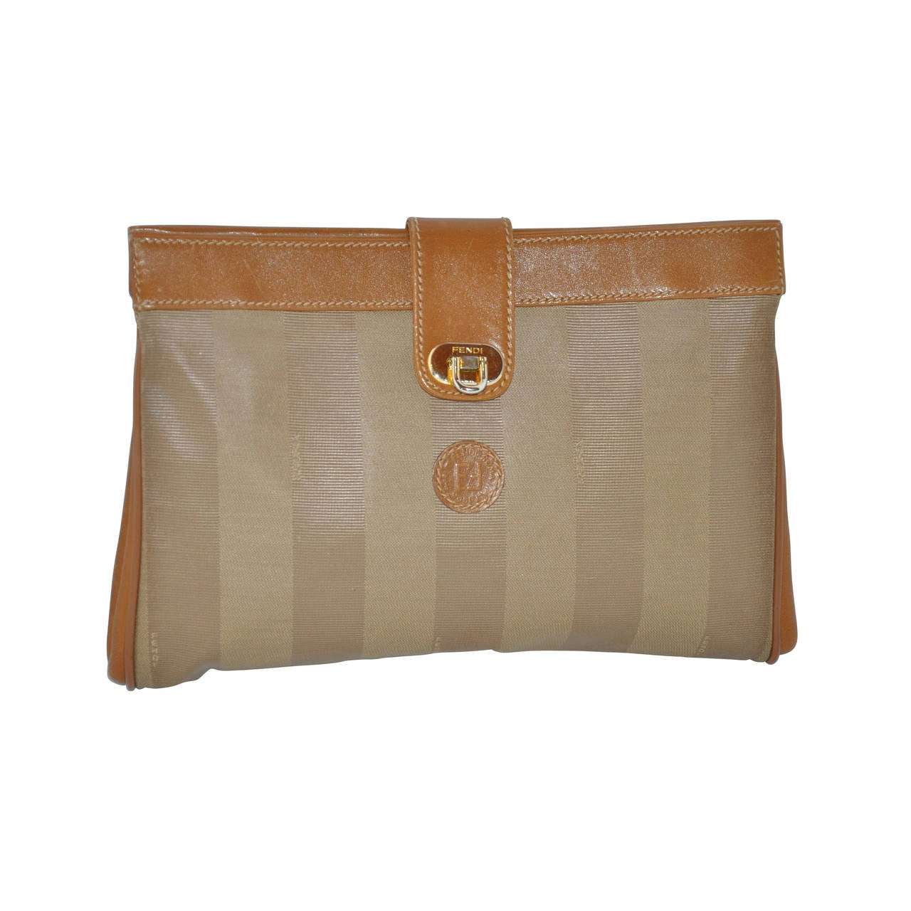 Fendi Beige Calfskin Combined with Textured Silk Monogram Clutch