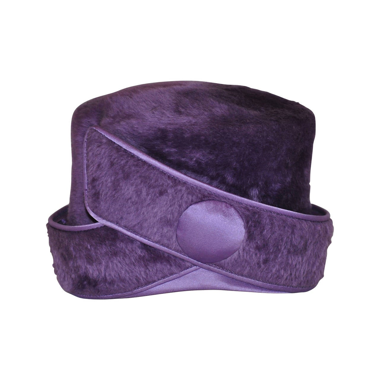 "Alfreda Inc. ""Pirouette"" Purple Brushed Wool & Felt with Silk Accent Hat 1"