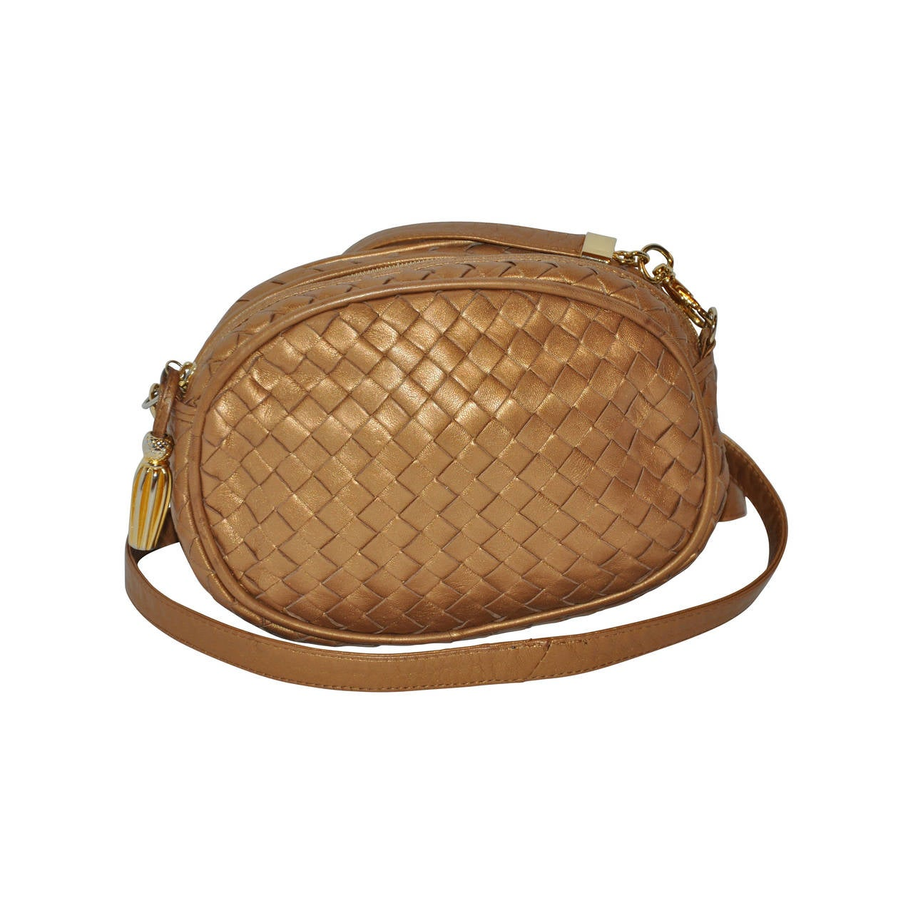 Bottega Veneta Metallic Gold Lambskin Signature Woven Cross-Body Bag