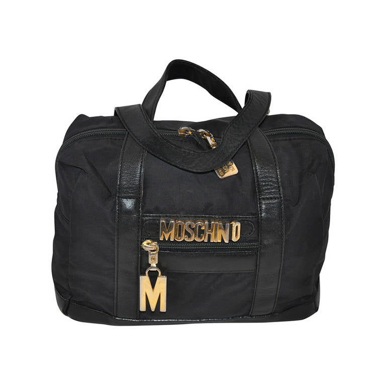 Moschino Black Nylon with Signature Gold Hardware Name Plate Zippered Tote