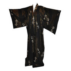 Black Cotton with Asian Writings Japanese Kimono