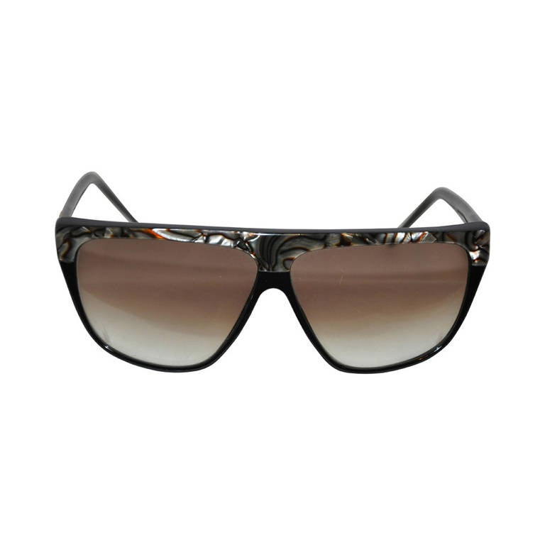 Laura Biagiotti Black Lucite with Mother-of-Pearl Accent Sunglasses