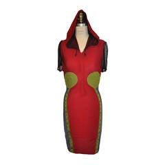 Calugi E. Giannelli Multi-Color Abstract Padded Zipper Hooded Dress