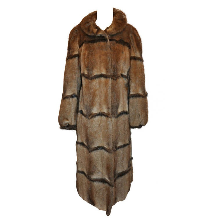 Full-Length Vintage Mink Coat with Ruffle Collar 1