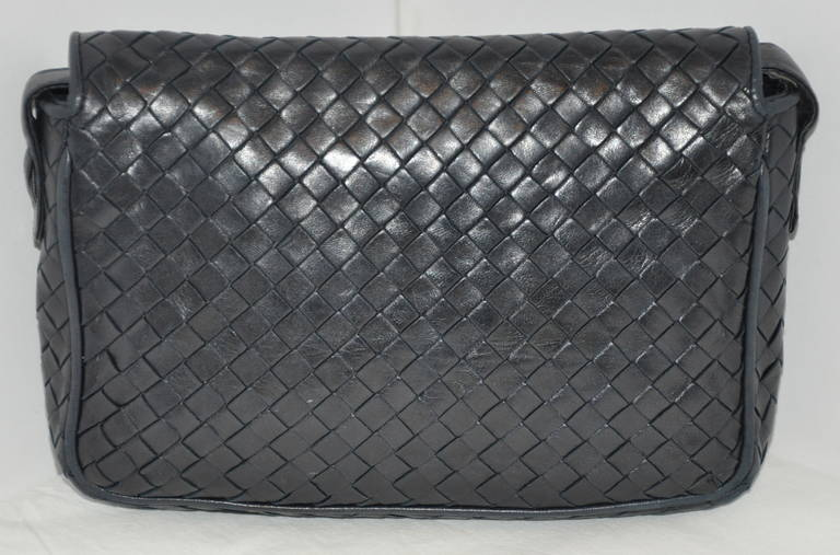 Black Bottega Veneta Signature Woven Lambskin with Tassles Clutch/ Shoulder Bag For Sale