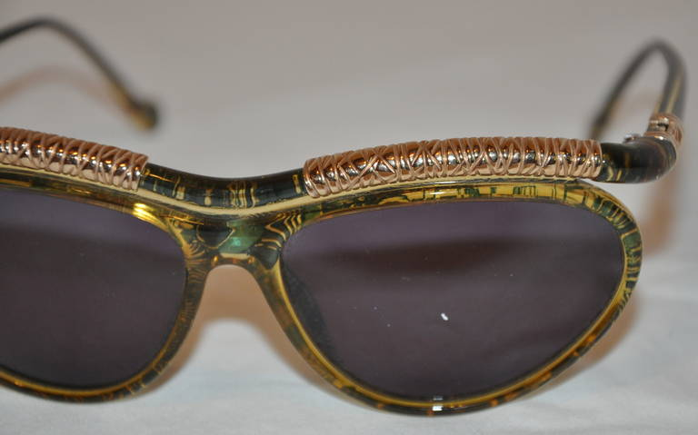 Christian LaCroix Multi-Green & Clear Lucite with Gold Hardware Sunglasses 2