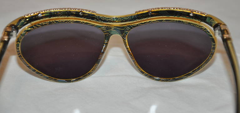 Christian LaCroix Multi-Green & Clear Lucite with Gold Hardware Sunglasses 3