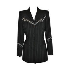 "Margaretha Ley for Escada ""Swirl"" Embroidered Multi-Pinstripe Jacket"