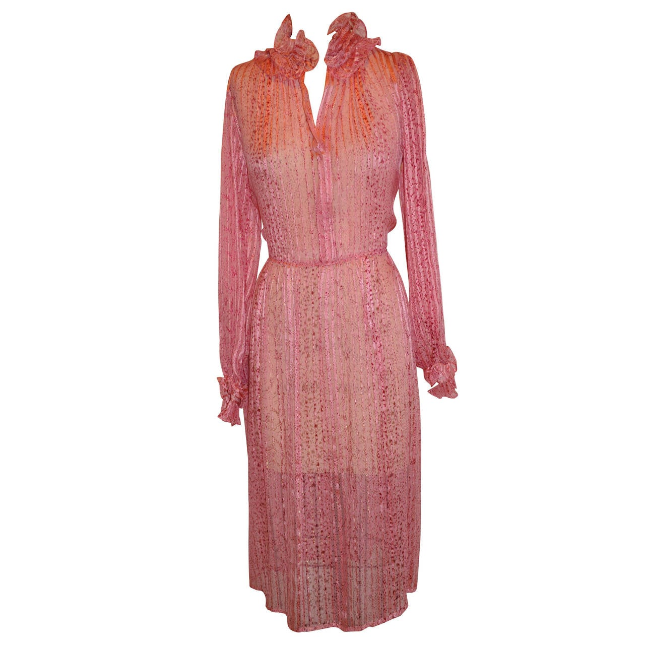 0be579c4988 Angelo Tariazzi neon pink lightweight knitted dress For Sale at 1stdibs