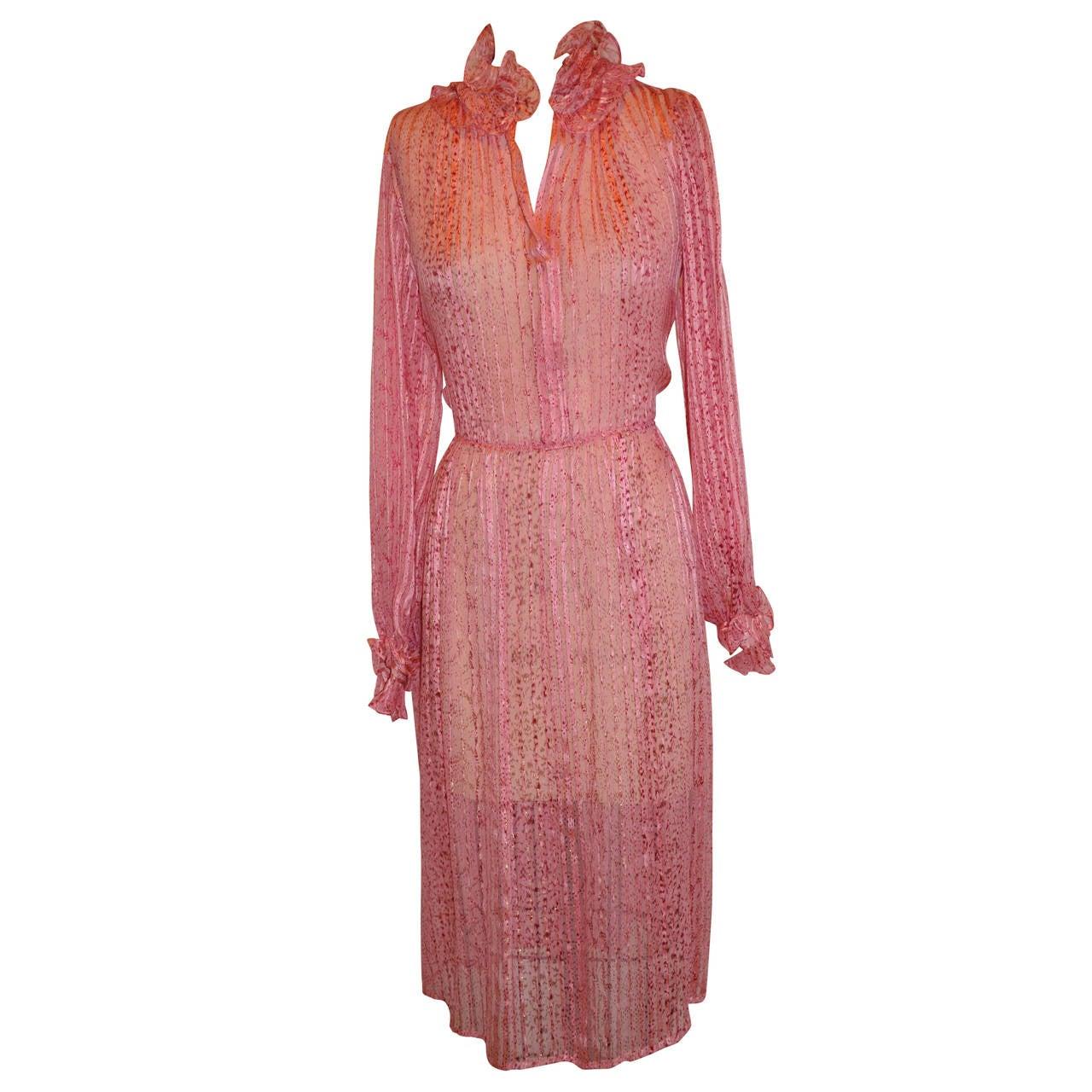 Saks Fifth Avenue Silk with Silk chiffon Stripe Ruffle Dress